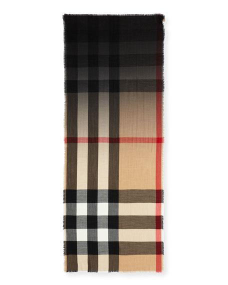 Burberry Lightweight Cashmere Ombre Check Scarf In Brown