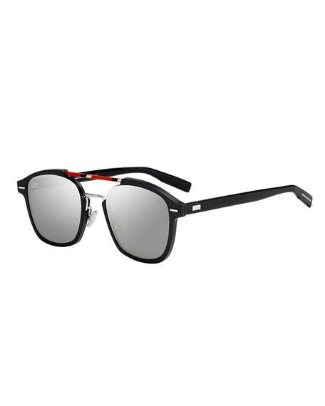 7a8bd610b1f3 Dior Flat-Lens Square Aluminum Sunglasses In Black