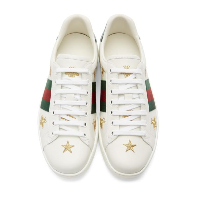 Gucci Bee And Star-Embroidered Low-Top Leather Trainers In White