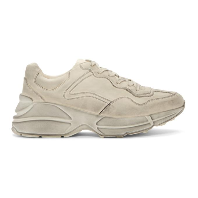 e8ca0a3bca1 Gucci Mens Rhyton Distressed Leather Running Trainers In 9522 Ivory ...