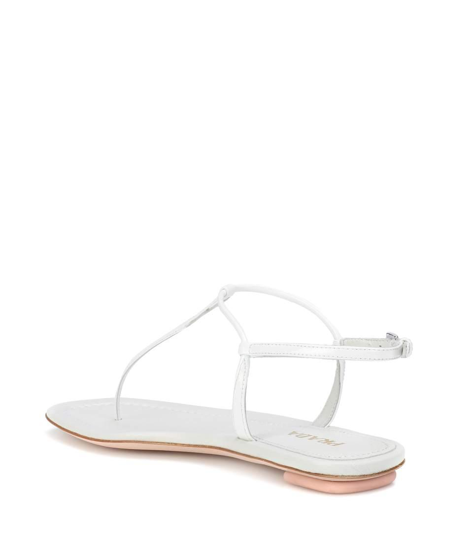 097ee6321d5f Prada Flat Patent Leather Thong Sandals In Silver