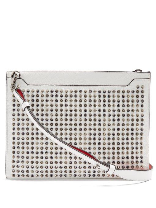 d89a83442a Christian Louboutin Skypouch Spike-Embellished Leather Pouch In White