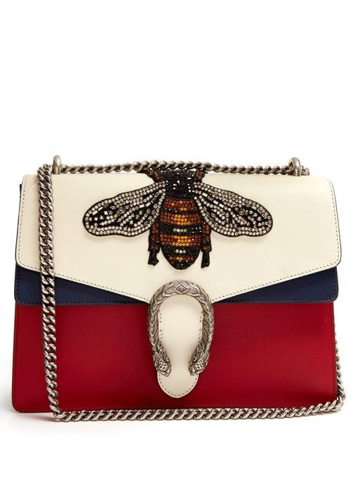 b0ced3b1352 Gucci Women s Dionysus Crystal Embellished Bee Crossbody Bag In Red ...