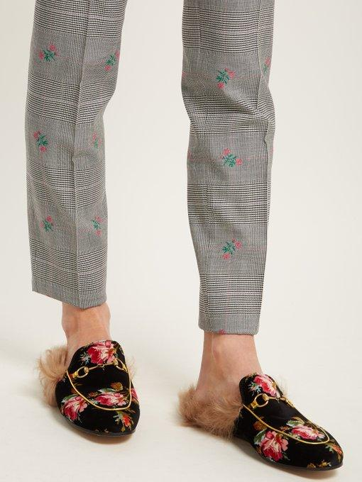 Gucci Princetown Horsebit-Detailed Shearling-Lined Floral-Print Velvet Slippers In Black
