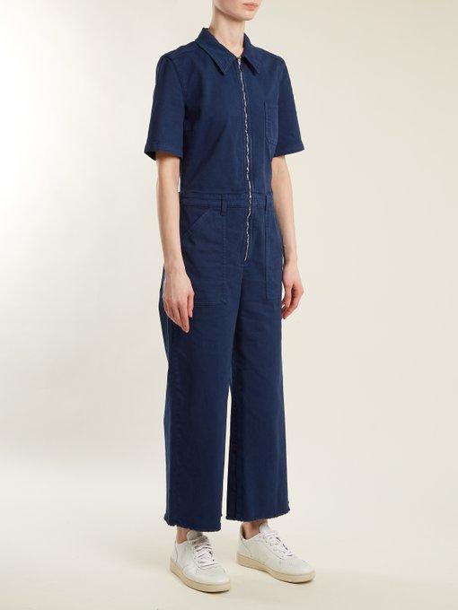 3186ad0ebdd41 Stella Mccartney Cropped Cotton-Blend Twill Jumpsuit In Midnight ...
