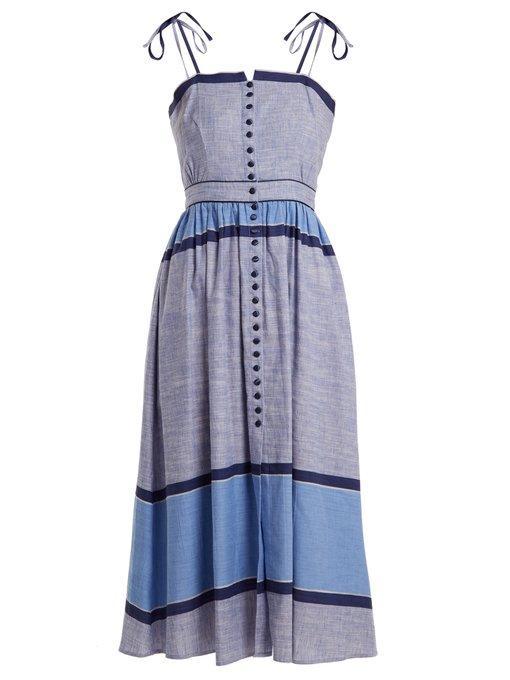 ebe9ce460c GÜL HÜRgel Striped Linen-Cotton Midi Dress In Dark Blue