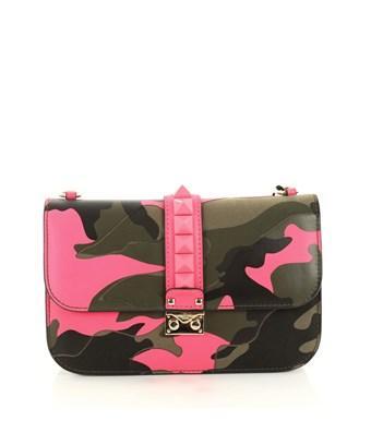 Glam Lock Shoulder Bag Camo Leather