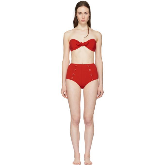 3ead897aaa8cb Lisa Marie Fernandez Red Seersucker Poppy Button Bikini In Tomato ...