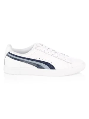 43112f7041bc Puma Clyde Denim-Striped Leather Sneakers In White Blue