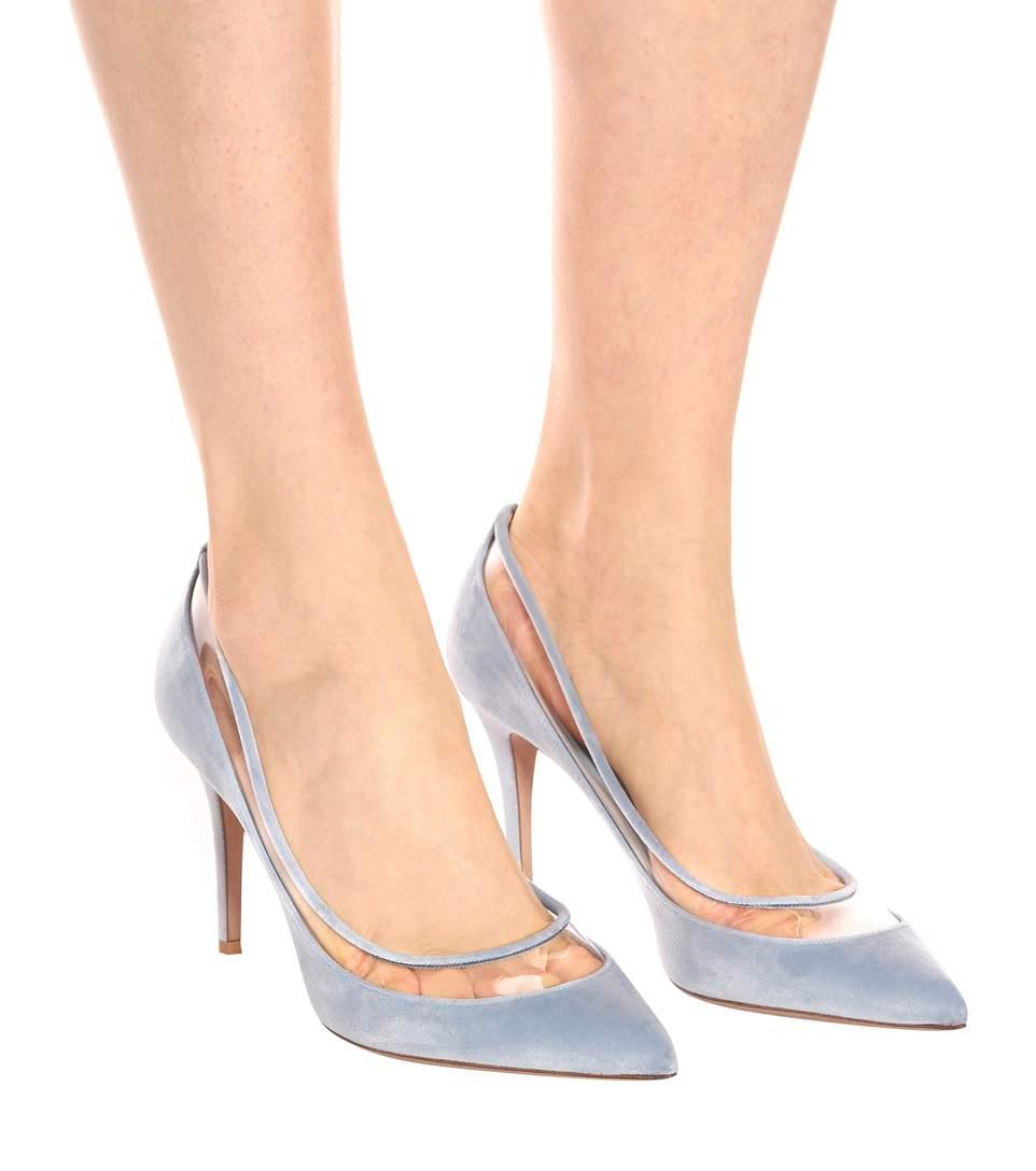 8c9d3998435 Valentino Bow-Embellished Velvet   Pvc Pumps In Lt. Blue