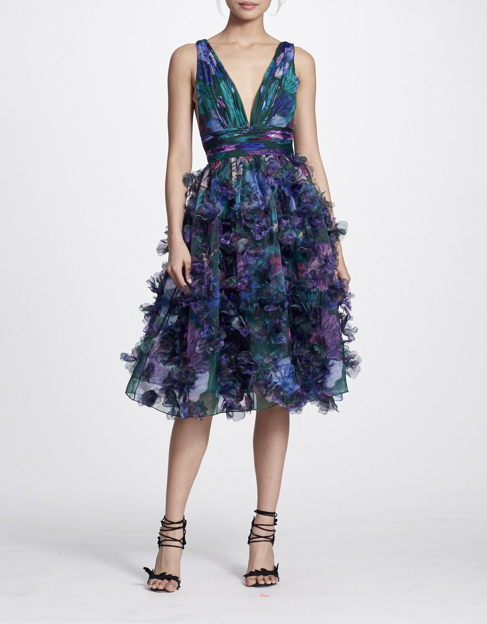 e2f4057a Marchesa Notte Embellished Floral Print Organza A-Line Dress In Berry