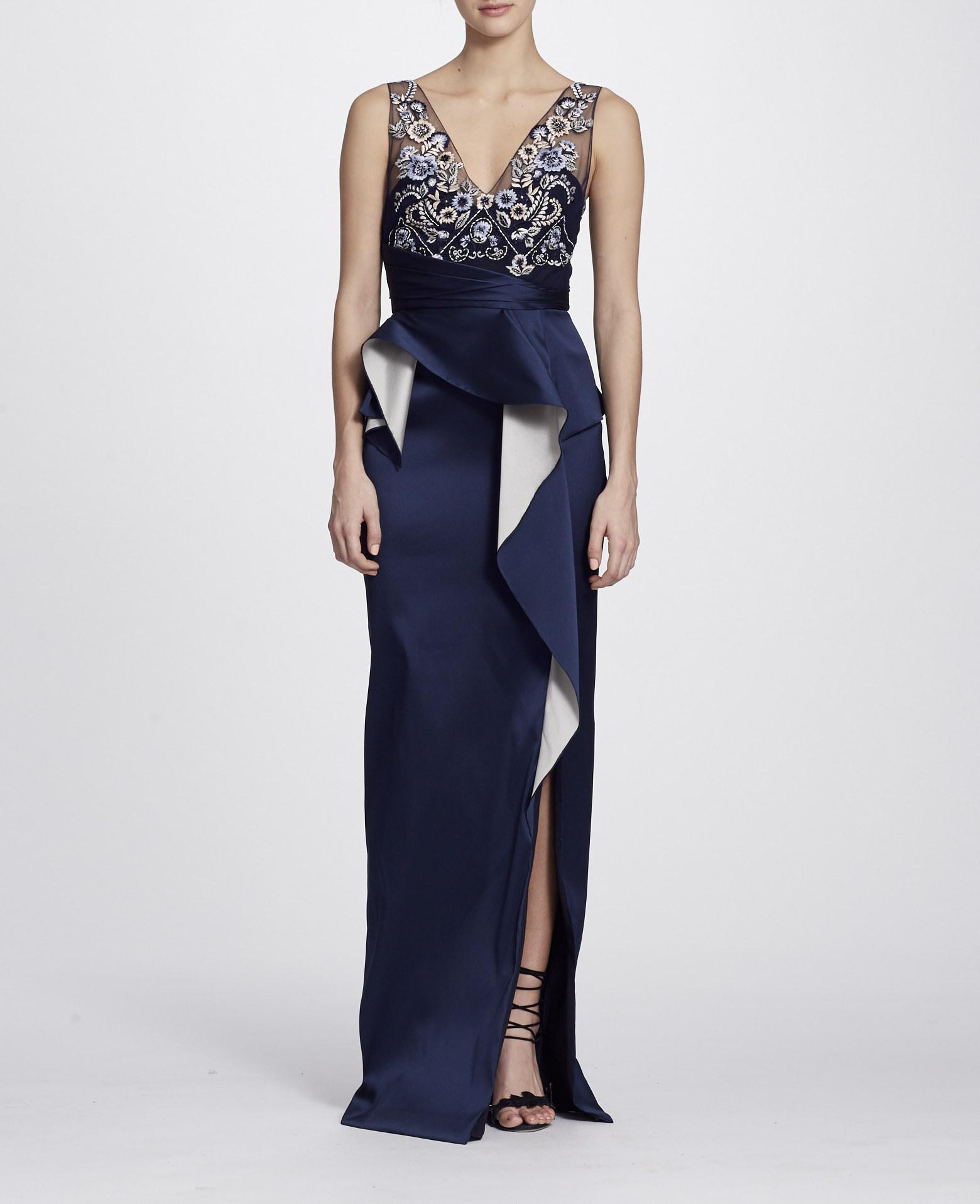 4bda95c5e64a8 Marchesa Notte Fall/Winter 2018 Sleeveless Two Tone Stretch Mikado Column  Gown In Navy Blue
