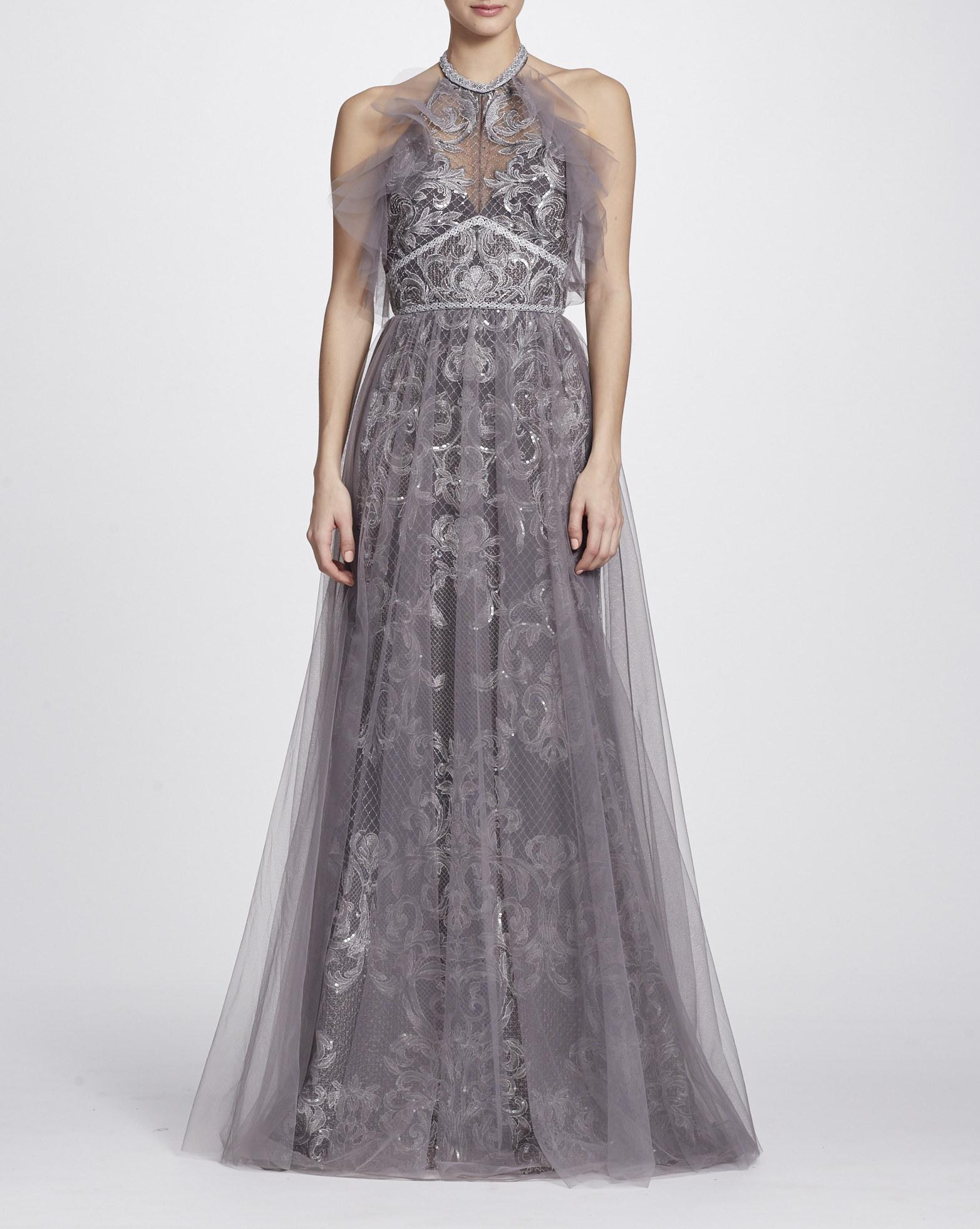 2981581b7db Marchesa Notte Sleeveless Halter Neck Evening Gown N24G0655 In Silver