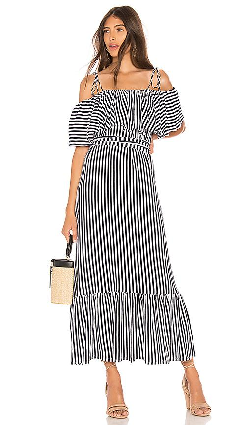 2b5511d99ceb8 Mds Stripes Rebecca Cold-Shoulder Striped Cotton-Jersey Midi Dress In Navy