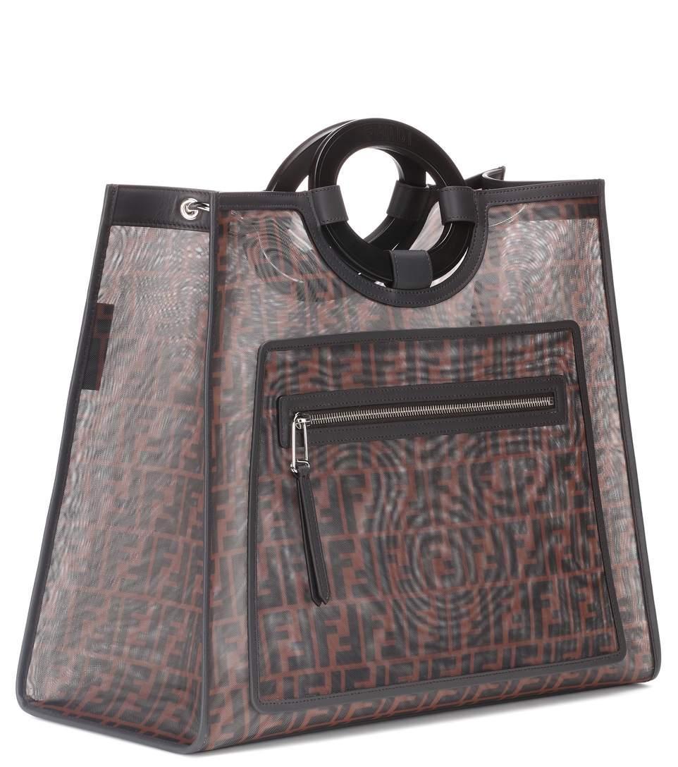 a96bae03462 Fendi Runaway Large Leather-Trimmed Printed Mesh Tote In Dark Brown ...