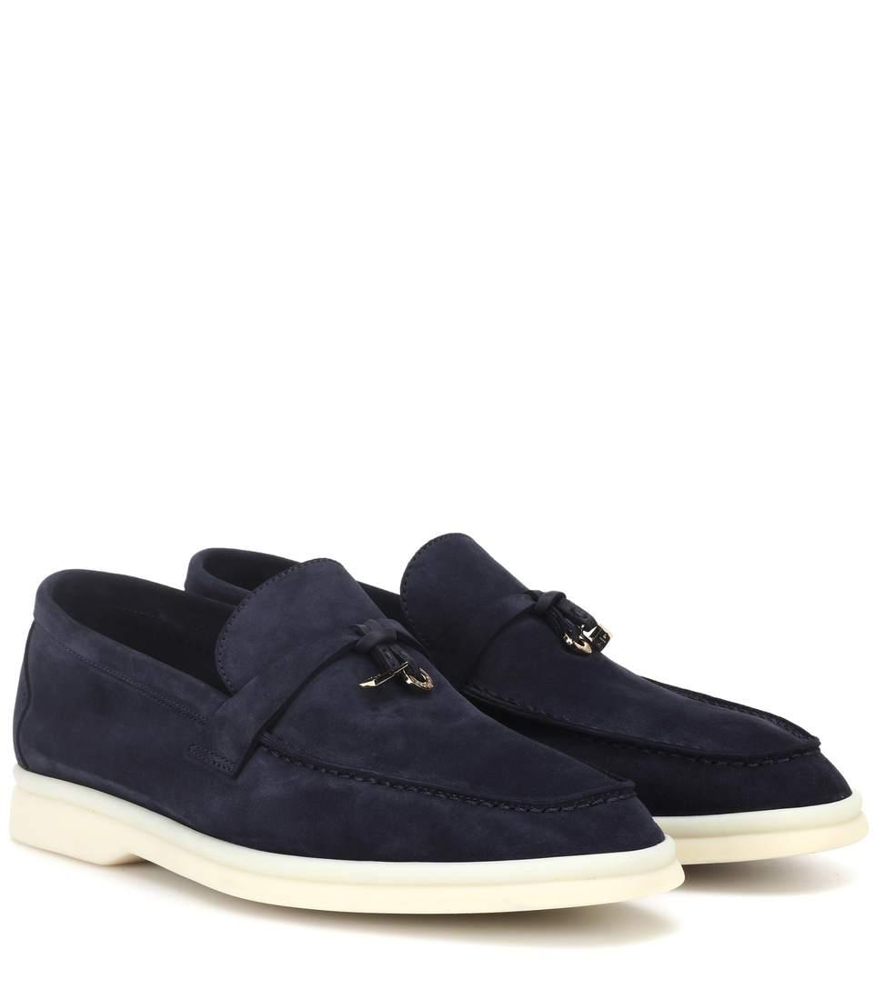 1cc8479bb80 Loro Piana Summer Charms Walk Suede Loafers In Blue