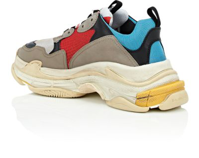Balenciaga Men's Triple S Mesh & Leather Sneakers, Blue In 4365 Multicolor