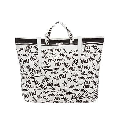 Miu Miu Shopping Bag Print Canvas White  c1f8034225395