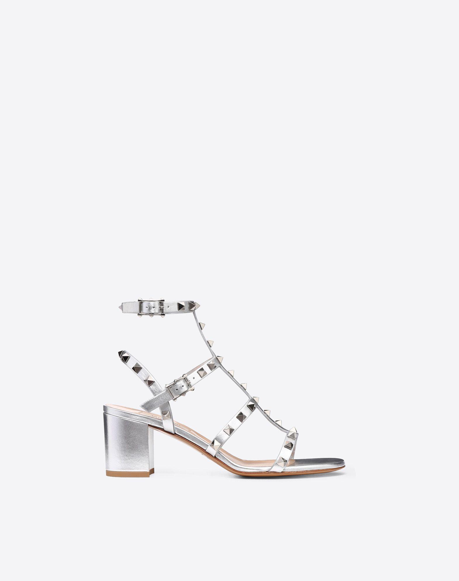 bf048c04fd63 Valentino Rockstud Metallic Ankle Strap Sandal 60Mm In Silver