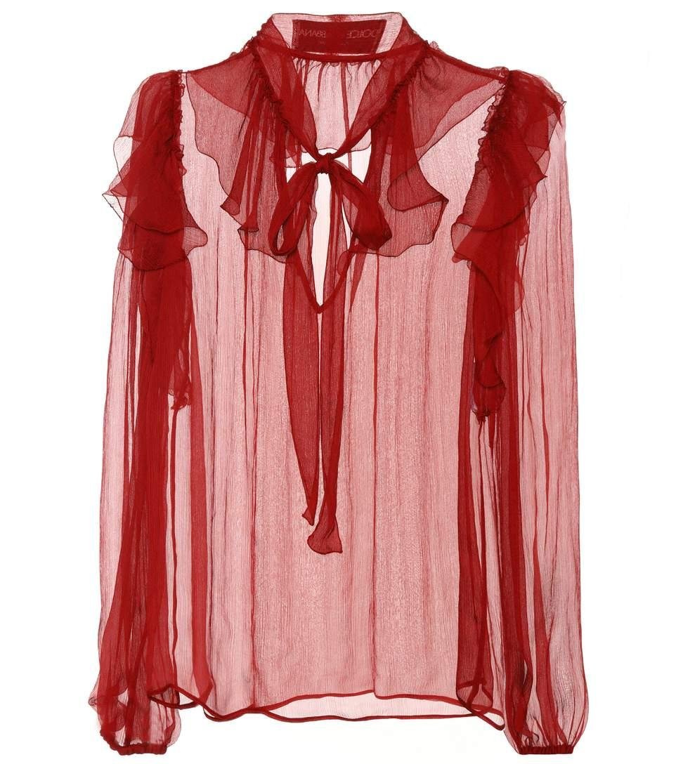 e02d13f758230 Dolce   Gabbana Silk Chiffon Blouse In Red