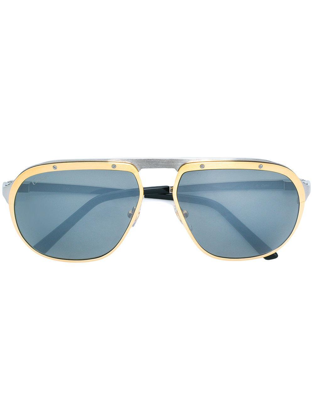 2dcbde31a47 Cartier Santos De Sunglasses - Metallic