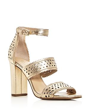 21a5980621a Botkier Women s Gemi Perforated Leather Block Heel Sandals In Metallic Ivory  Leather