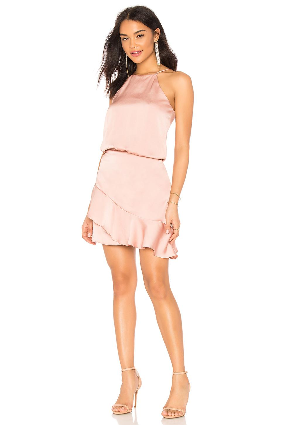 40e4efe2f65 Krisa Halter Ruffle Mini Dress In Femme