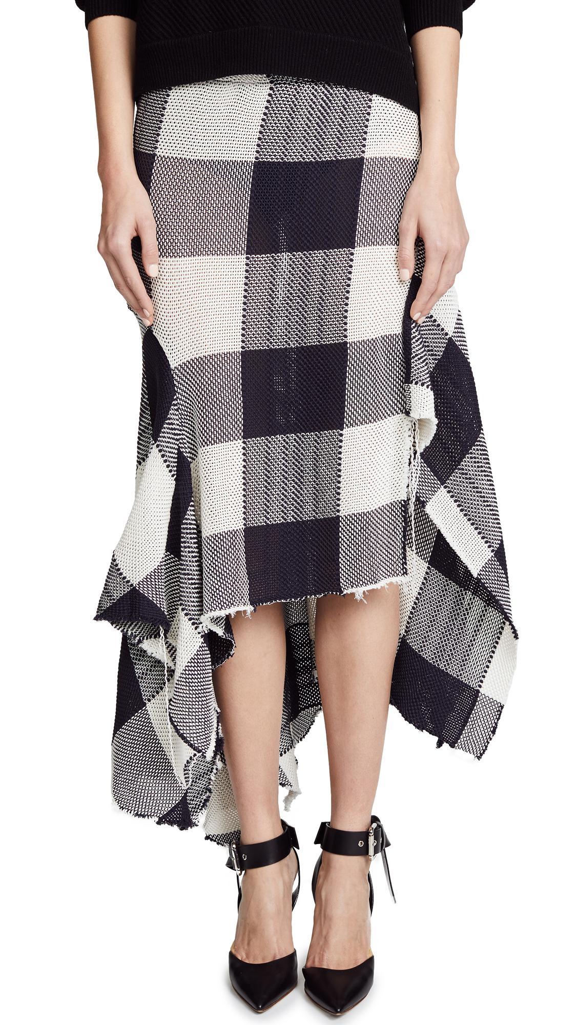 Marques Almeida Asymmetrical Draped Skirt In Black White Modesens
