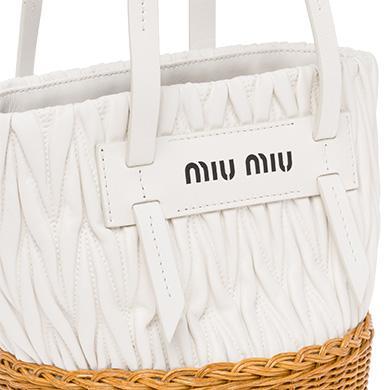 cc4cd5f127a Miu Miu Nappa Leather And Wicker Bucket Bag In White