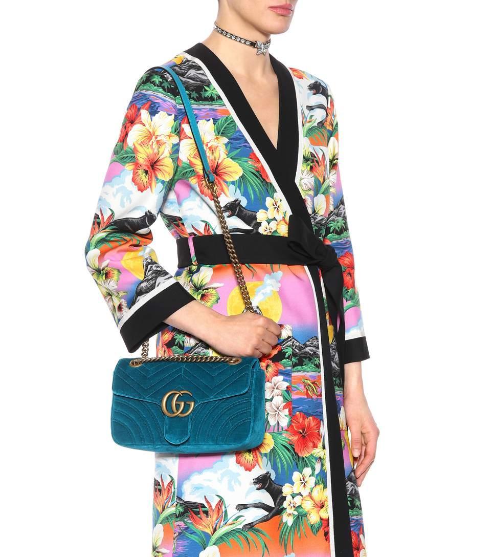 810ea68d5389 Gucci Ladies Peacock Dark Blue Marmont Velvet Shoulder Bag | ModeSens