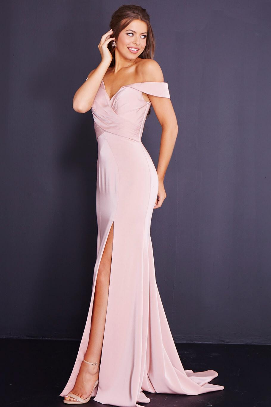 738d779dc693d Jovani Jvn By Off Shoulder Fitted Gown In Blush | ModeSens