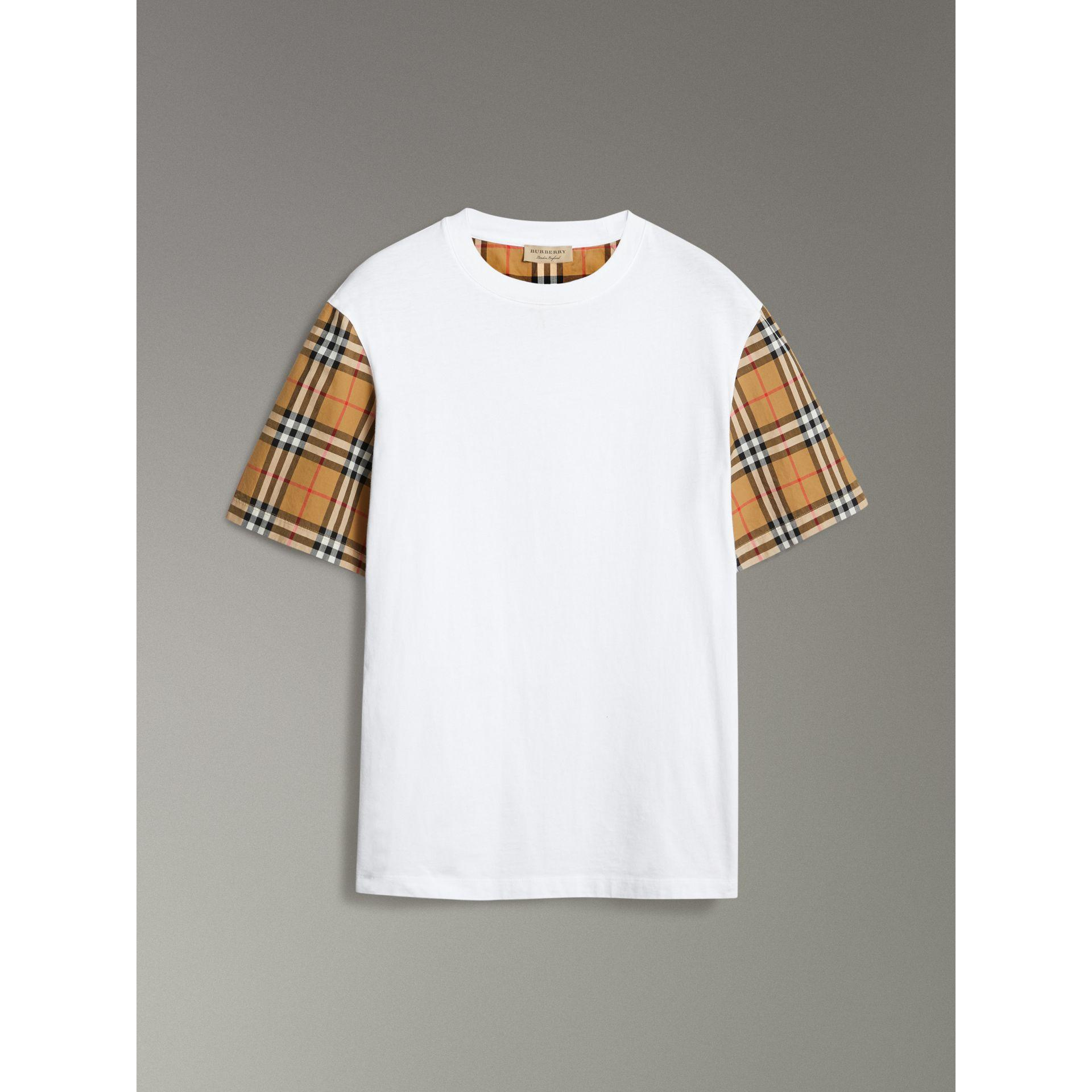 fec505a37677 Burberry Vintage Check Sleeve Cotton Oversized T-Shirt In White ...