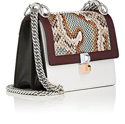 4499fcb52634 Fendi White Multicolor Mini Kan I Python Bag