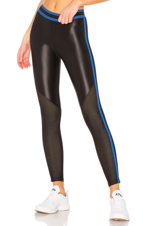 392177edccc2a0 Alala Varsity Crop Legging In Black & Wave Blue   ModeSens