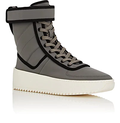 buy popular 4ebdb b2d67 Fear Of God Men s Leather High-Top Military Sneakers, Gray Black In Grey
