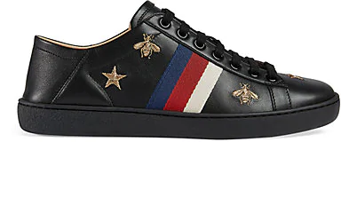 Gucci New Ace Embroidered Leather Sneakers In Black