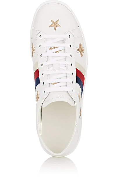 Gucci Ace Embroidered Leather Collapsible-Heel Sneakers In White