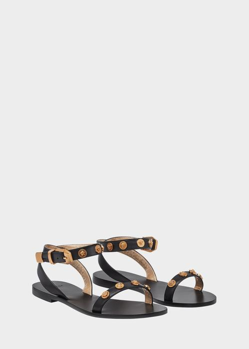 4d66ec25890 Versace Medusa Stud Tribute Sandals In Black