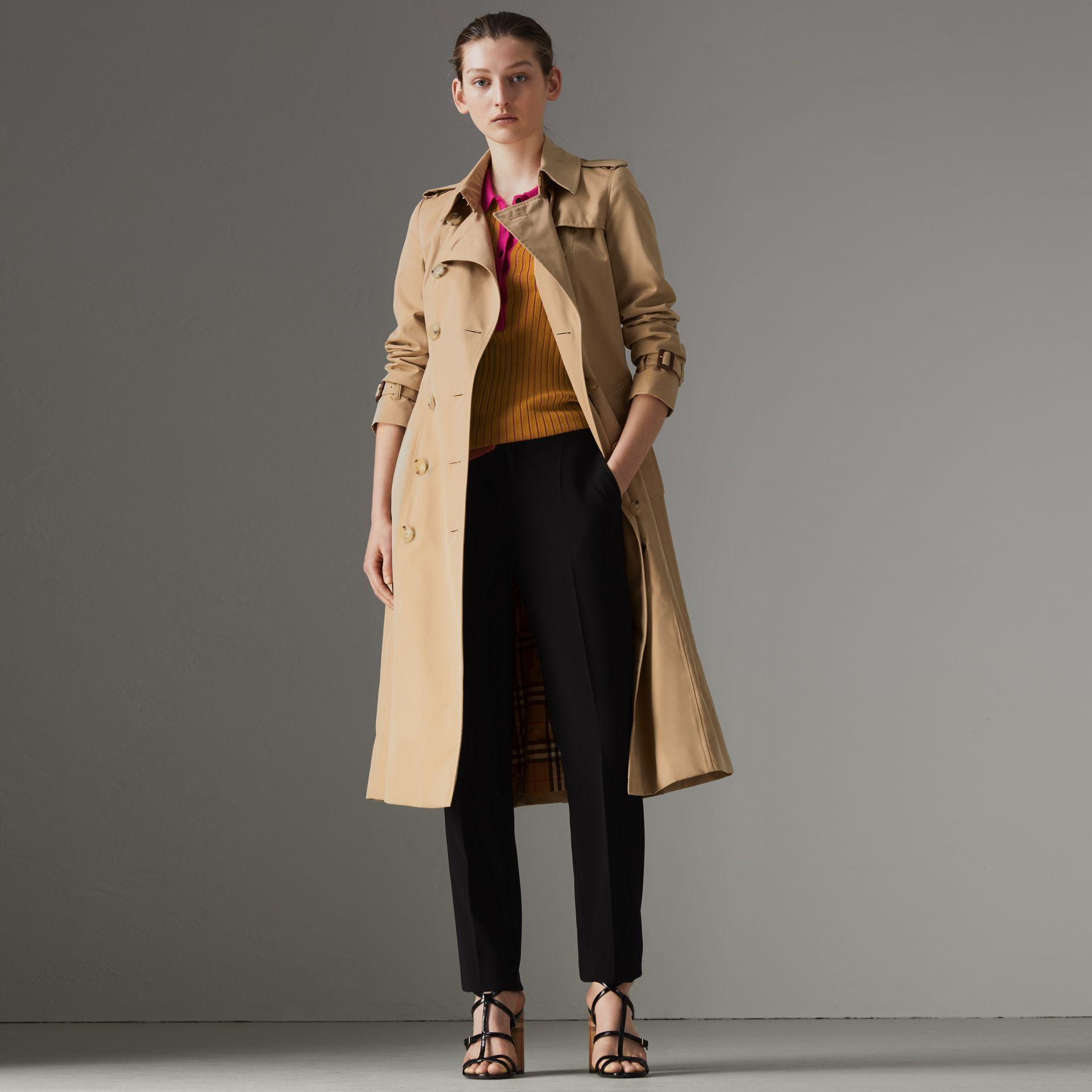 9f4d73302046 Burberry Protective Womens Beige The Kensington Heritage Check-Lined  Cotton-Gabardine Trench Coat In