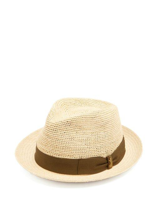 363e3d31c3779a Borsalino - Woven And Crochet Straw Panama Hat - Mens - Khaki Multi ...