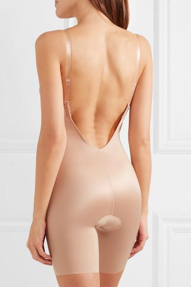 b208b94b999 Spanx Suit Your Fancy Plunge Low-Back Mid-Thigh Bodysuit In Champagne Beige