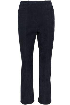 Rosetta Getty Woman Cropped Suede Bootcut Pants Indigo