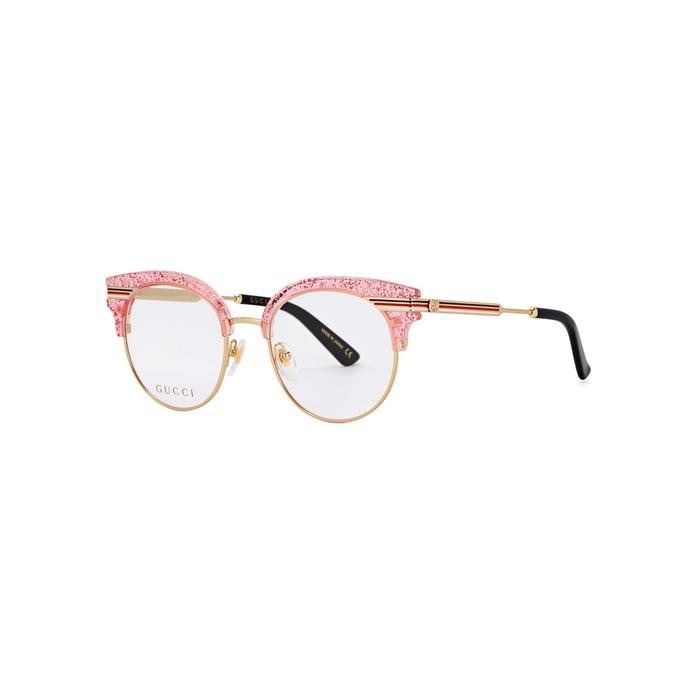9b0aa0eed0e Gucci Pink Glittered Cat-Eye Optical Glasses