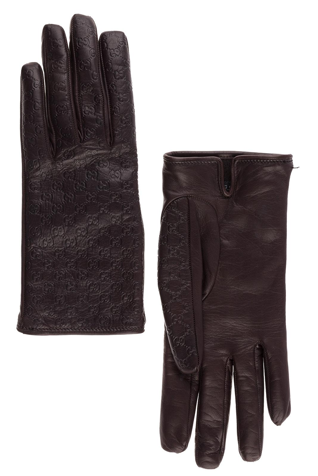 680b8ea7792 Gucci Women s Leather Gloves In Brown