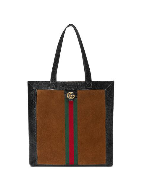 66952257efb624 Gucci Ophidia Medium Patent Leather-Trimmed Suede Tote In 2863 Brown ...