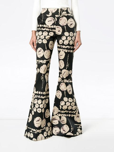 Beaufille Cyrus Fil CoupÉ Cotton Flared Pants In Black