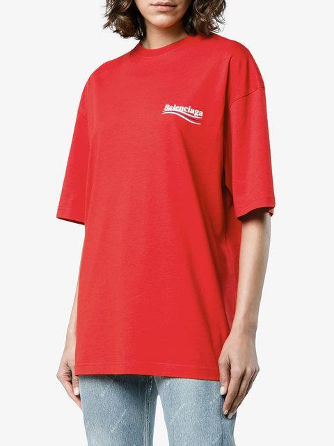 0a793a079c90 Balenciaga Crewneck Short-Sleeve Oversize Campaign-Logo Cotton T-Shirt In  Red