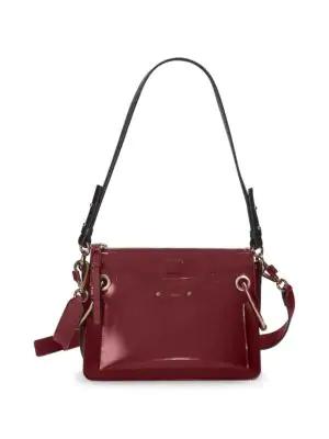 d09ea45af4d4 ChloÉ Roy Convertible Two-Tone Leather Shoulder Bag In Burgundy ...