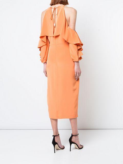 79f40e21995c Cushnie Et Ochs Aura Cold Shoulder Pencil Dress With Halter Neck In Yellow