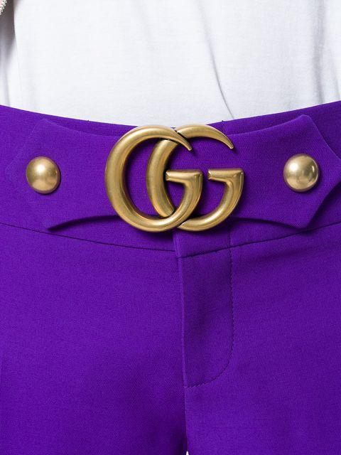 c1a5cb510de Gucci Gg Marmont Stud Detail Pants In Purple